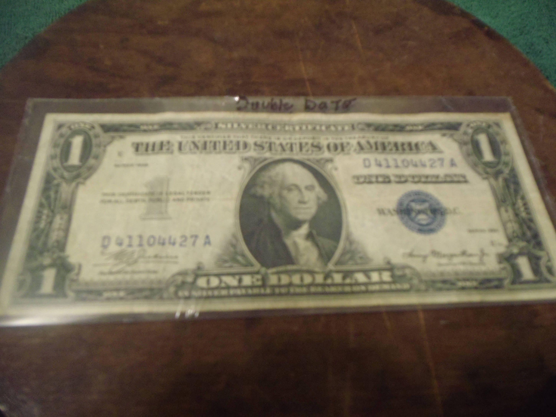 1935 One Dollar Bill Silver Certificate Double Date Blue Seal Etsy