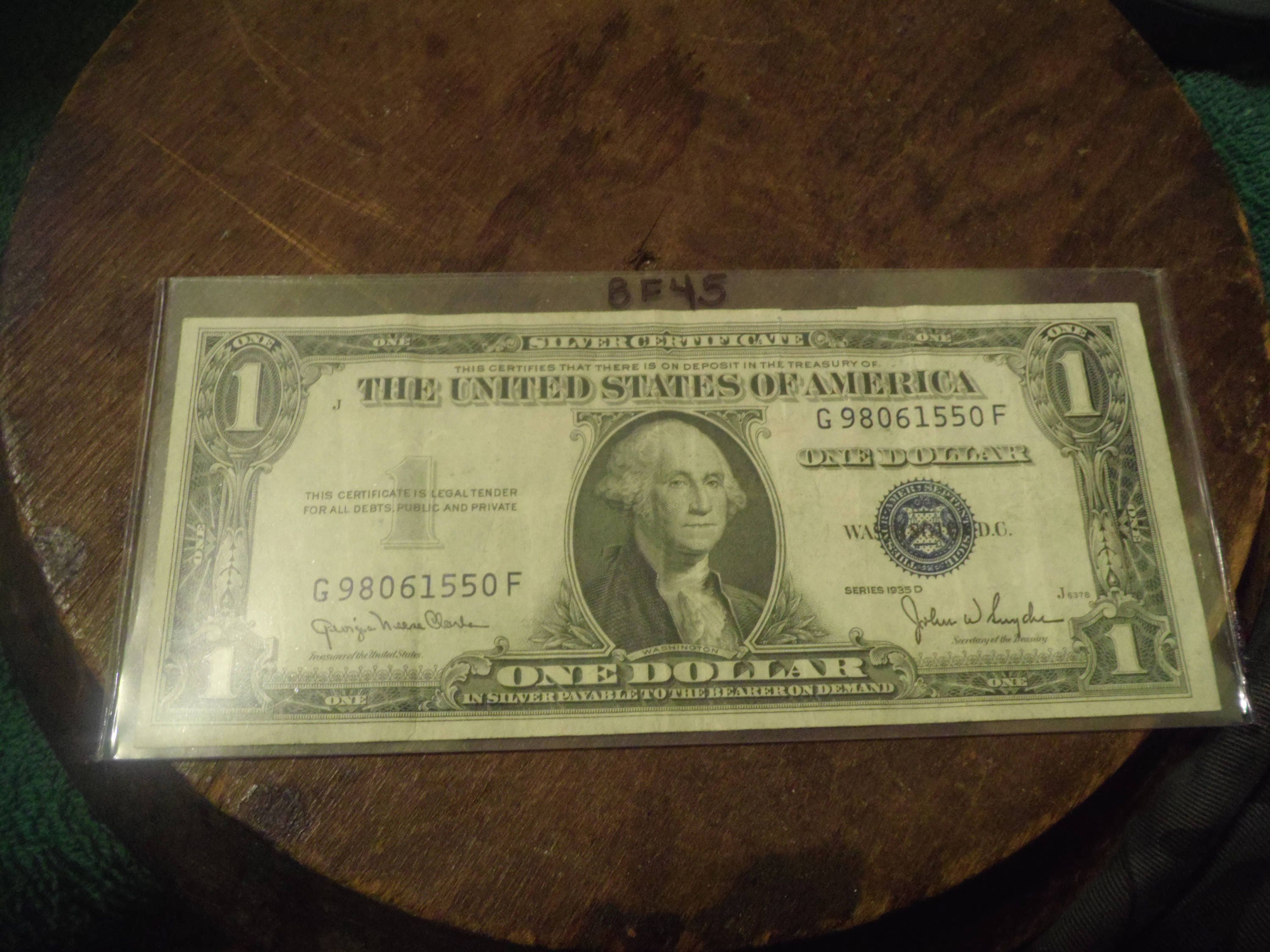 1935 D Silver Certificate Blue Seal One Dollar Bill Bf45 Etsy