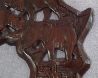 Hand Carved Wooden Africa Wall Plaque from South Africa