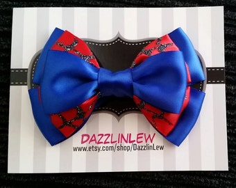 Hair Bows, Girls Hair Bow, Spider Hero Girls Hair Bow, Spider Webs, Halloween Dress Up, Cosplay Hair Bow, Nerdy Bows, Geeky Girls