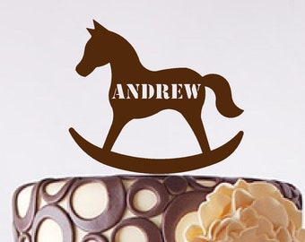 Rocking Horse Cake Toppers Sizes /& Personalised Options Various Colours