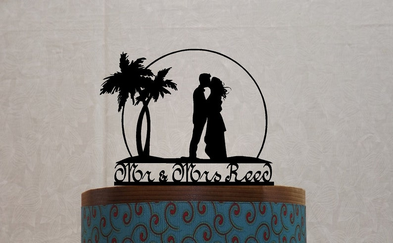 Sunset Beach Wedding Cake Topper Personalized with your Surname Mr Mrs with Palms and a Wedding Couple