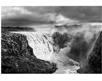 iceland photography, nature photos, black and white photography, black and white print, Iceland, waterfall, Iceland art, black and white art