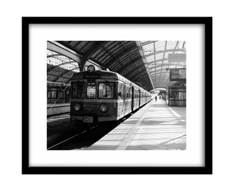 Train Station Poland, Fine Art Photography, Train Photography, Black and White Photography, Fine Art Print, Large Wall Art, Gift For Him