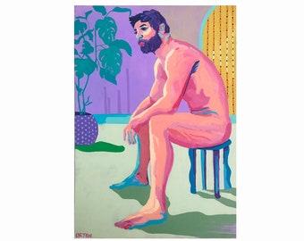 Abstract Nude Art Male Acrylic Figure Study Original Painting On Canvas Male Figure Art Naked Male Figure Painting Study
