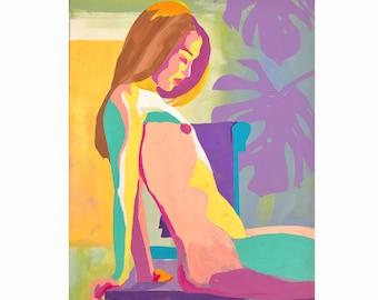 Nude Art Abstract Painting Female Nude Original Acrylic Painting Naked Figure Study Original Canvas Art