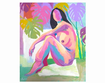 Nude Art Female Nude Abstract Figure Study Original Painting Acrylic Art On Canvas Naked Sketch Life Drawing