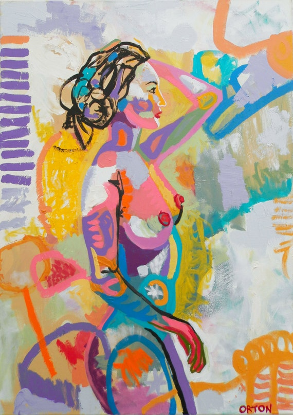 Figure painting abstract nude oil on canvas by Aja huge 3x4