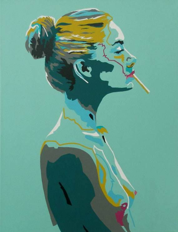 Nude Art Abstract Painting Smoking Female Nude Turquoise Blue Magenta And Forrest Green Acrylic Painting Figure Study Original Canvas Art