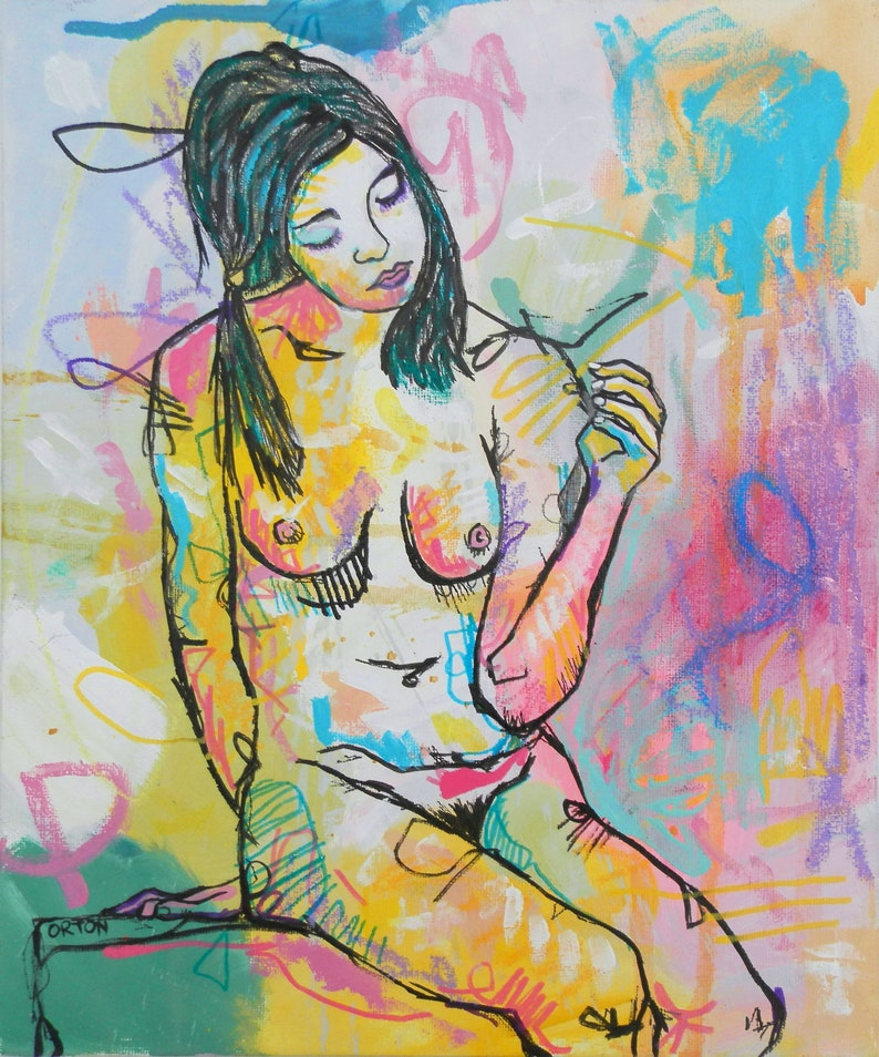 Acrylic art nude female form