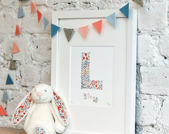 Personalised floral letter and name nursery print