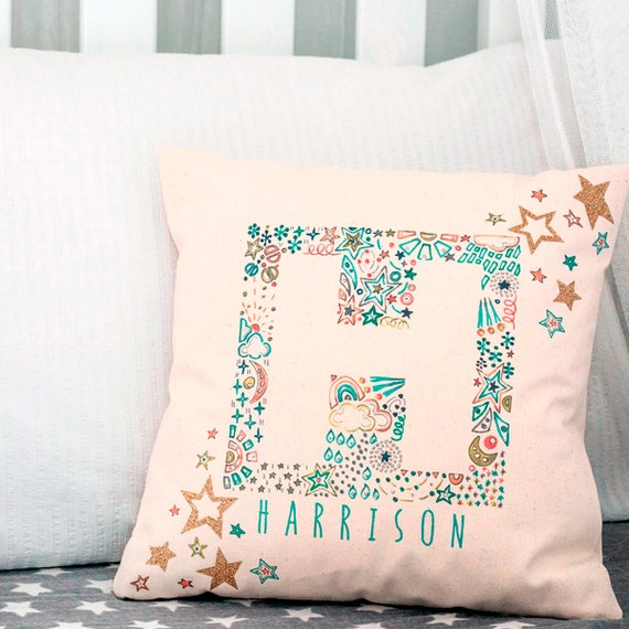 Personalized Baby Pillow Baby Boy Christening Gift New Baby Gift First Birthday Ideas To The Moon And Back Boys Nursery Decor Star Pillow
