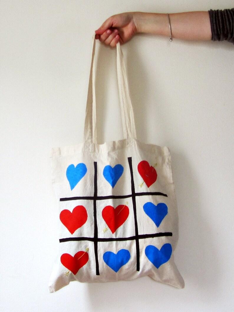 a2490ed474dca Data Bag Handprinted haftowane Tote Tic Tac Toe serca prezent