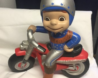 "70's -80's Ceramic motorcycle guy patriotic Evil Knievel statue 12"" tall, 11"" long"