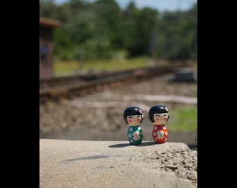 Wooden Dolls by the Tracks - Fun Color Photography Print
