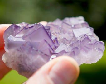 Natural Raw Purple Cubic Fluorite Crystal Cluster Specimen (2.72oz.)