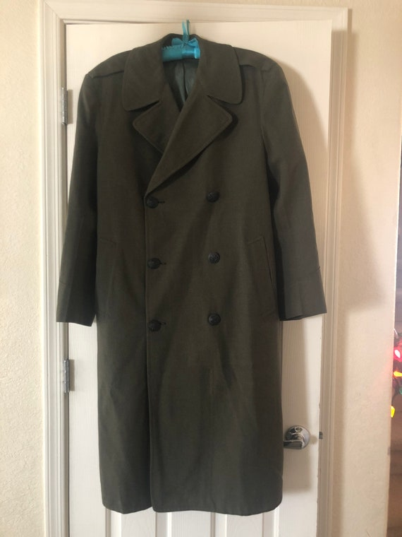 Vintage Men's Marines Long Serge Wool Overcoat