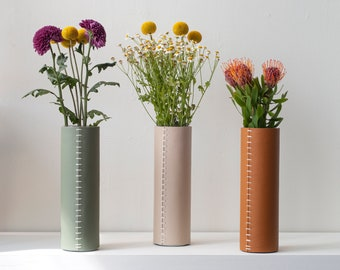 Leather Vase | Leather Wrapped Flower Vase|  | Luxurious  Decorative Fresh Flower Container| 3rd Anniversary Gift | Gift For Him / Her