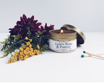 LEMON SEED & PARSLEY Soy Candle   Candle Tin   Travel Candle