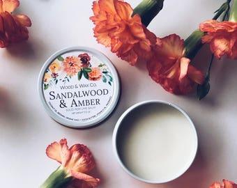 SANDALWOOD & AMBER Solid Perfume | Natural Perfume Balm