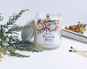 WINTER MINT Wood Wick Soy Candle | 9 Ounces
