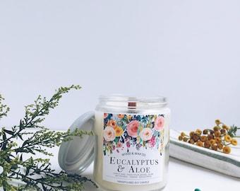 EUCALYPTUS & ALOE Wood Wick Soy Candle | 9 Ounces