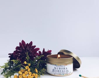 AURORA BOREALIS Soy Candle | Candle Tin | Travel Candle