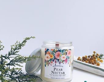 PEAR NECTAR Wood Wick Soy Candle | 9 Ounces