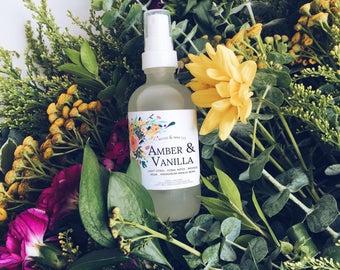 AMBER & VANILLA Linen + Air Mist | Room Spray | Room Fragrance