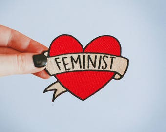 Feminist Heart Iron On Patch