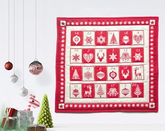 Nordic Advent calendar - Scandinavian Christmas advent calendar - Christmas countdown calendar - Fill your own fabric advent calendar