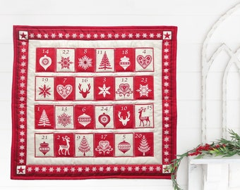 Scandinavian Christmas advent calendar with pockets. Quilted fabric advent calender for adults. Swedish Christmas decor advent calander gift