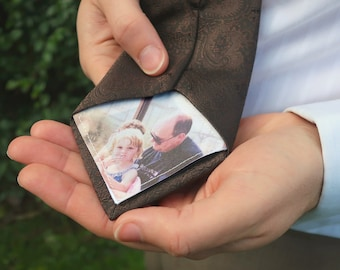 Custom photo father of the bride tie patch. Personalised father of the bride gift from bride. Unique sew on patch for wedding day necktie
