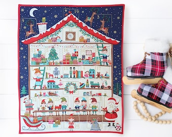 Fabric advent calendar with pockets for a new family Christmas tradition. Reusable advent calander for kids. Quilted advent calender decor