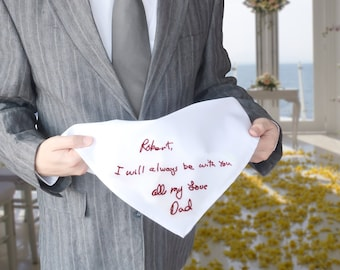 Groom gift - In memory of wedding gift for groom - Custom handwriting handkerchief - Loss of father