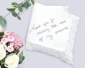 Mother of groom handkerchief, Handwritten gifts, Personalized wedding gift, Mother of the groom gift from bride, Handwriting hankerchief,