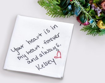 Your handwritten love letter embroidered on a personalized handkerchief for him. Romantic custom Christmas gift idea for boyfriend / husband
