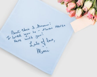 Your handwriting something blue for bride. Ladies personalized handkerchief. Custom hankerchief wedding memorial gift for bride from mother