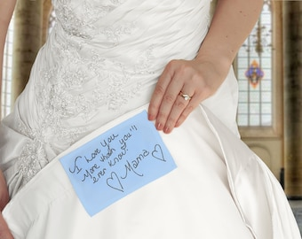 Your handwriting embroidered on a wedding dress label. Personalized something blue for bride. Wedding memorial gift for bride from mother