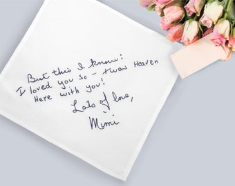 Your loved ones handwriting handkerchief, Personalized embroidered ladies handkerchiefs, Remembrance gift, Sympathy gift loss of mother,