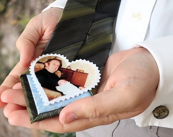 Photo wedding tie patch. Personalized grooms gift from bride. In loving memory of mom or dad. Custom portrait wedding memorial on necktie