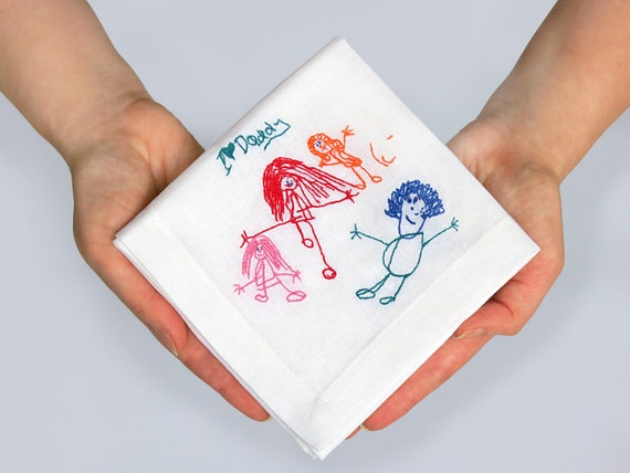 Kids drawing personalized handkerchief Ladies handkerchiefs Hankies First mothers day gift Mothers day gift for grandma from daughter