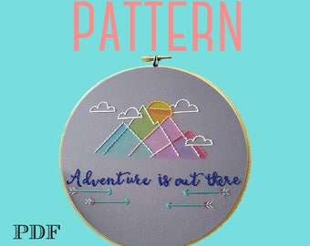 Embroidery Pattern>Adventure is Out There>Geometric Mountains>Instant Download PDF>Hand Embroidery Pattern>Printable Stitching Pattern