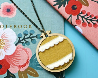 Scalloped Trim Fabric Necklace, Mustard Yellow Necklace, Miniature Hoop Jewelry, Folk Art Inspired, Christmas Gift Idea, Gift For Her, Cute