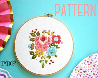 Floral Embroidery PATTERN, Vintage Inspired Embroidery Kit,Instant Download PDF,Hand Embroidery Pattern,Printable Stitching Pattern