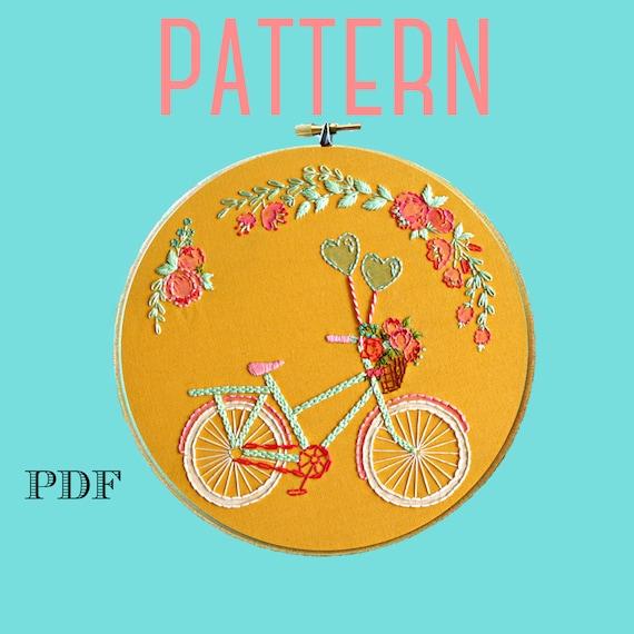 Bike Embroidery Patternbeginner Embroidery Kit Bike Art Etsy