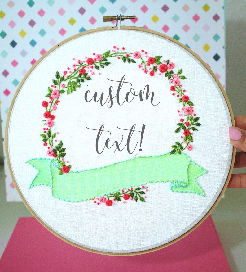 CUSTOM Embroidery Hoop Art,Wreath Sign,Wedding Embroidery  Design,Personalized Art,Wedding Sign,Birth Announcement,Personalized  Gift,Wall Art
