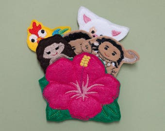 Moana Disney Movie Inspired Finger Puppets with  Habiscuss flower case, stocking stuffer, gift for children, gift under 15, you're welcome