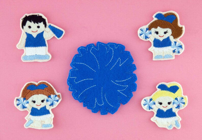 sport team kids toy Cheer squad boy and girl finger puppets with pom-pom case stocking stuffer