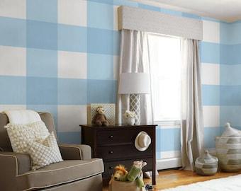 Large Buffalo Check (12 inch)  // Light Blue Removable Peel 'n Stick Wallpaper